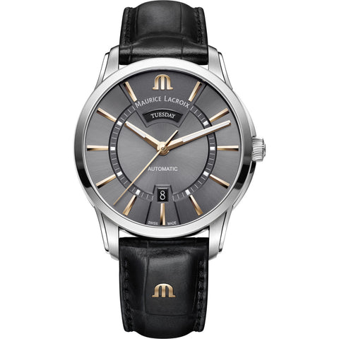 Maurice Lacroix Pontos Day Date 41mm Watch | Anthracite/Black Leather PT6358-SS001-331-1