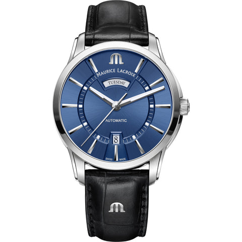 Maurice Lacroix Pontos Day Date 41mm Watch | Blue/Black Leather PT6358-SS001-430-1