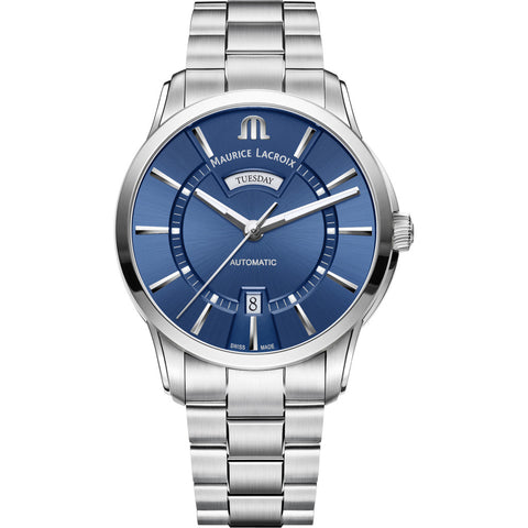 Maurice Lacroix Pontos Day Date 41mm Watch | Blue/Silver PT6358-SS002-430-1