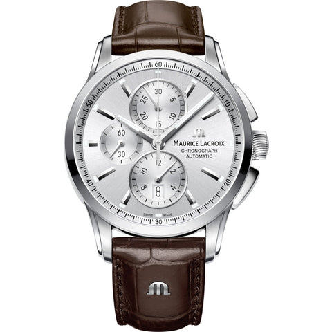 Maurice Lacroix Pontos Chronograph 43mm Watch | Silver/Brown Leather PT6388-SS001-130-1