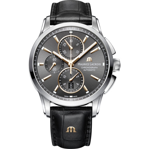 Maurice Lacroix Pontos Chronograph 43mm Watch | Anthracite/Black Leather PT6388-SS001-331-1