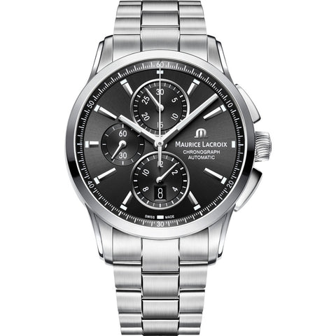 Maurice Lacroix Pontos Chronograph 43mm Watch | Black/Silver PT6388-SS002-330-1