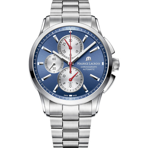 Maurice Lacroix Pontos Chronograph 43mm Watch | Blue/Silver PT6388-SS002-430-1