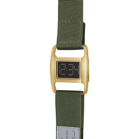 VOID PXR-5 Polished Gold Watch | Olive Nylon PXR5-PG/OL