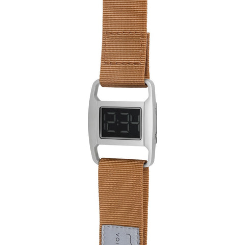 VOID PXR-5 Polished Silver Watch | Yellow Ochre Nylon PXR5-PO/YO