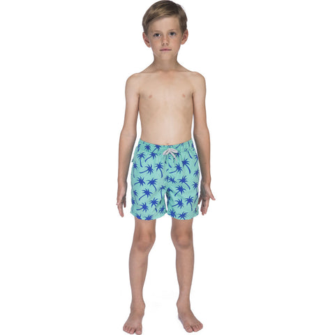 Tom & Teddy Boy's Palms Swim Trunk | Emerald & Blue