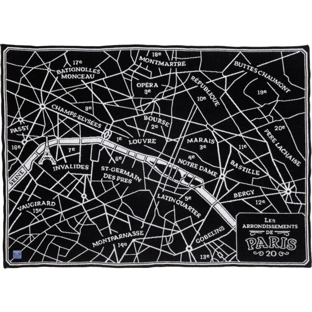 Faribault Paris Map Wool Throw | Black 17221 50x65