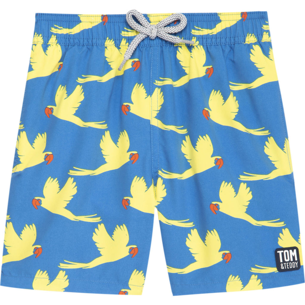 Tom & Teddy Boy's Parrots Swim Trunk | Mid Blue & Yellow / 11-12