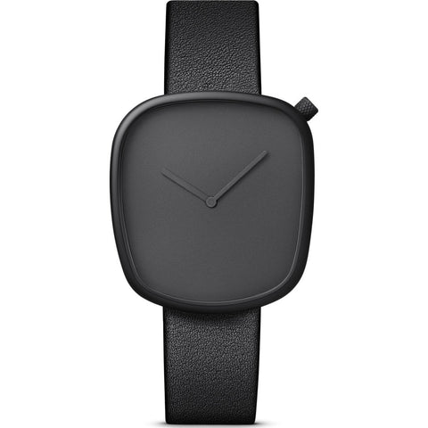 bulbul Pebble 01 Men's Watch | Black Steel on Black Italian Leather