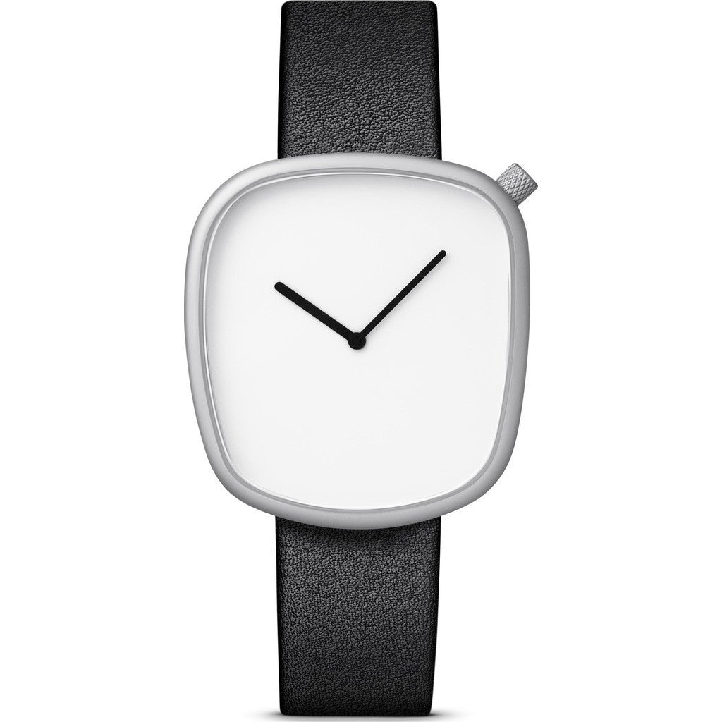 bulbul Pebble 02 Men's Watch | Matte Steel on Black Italian Leather