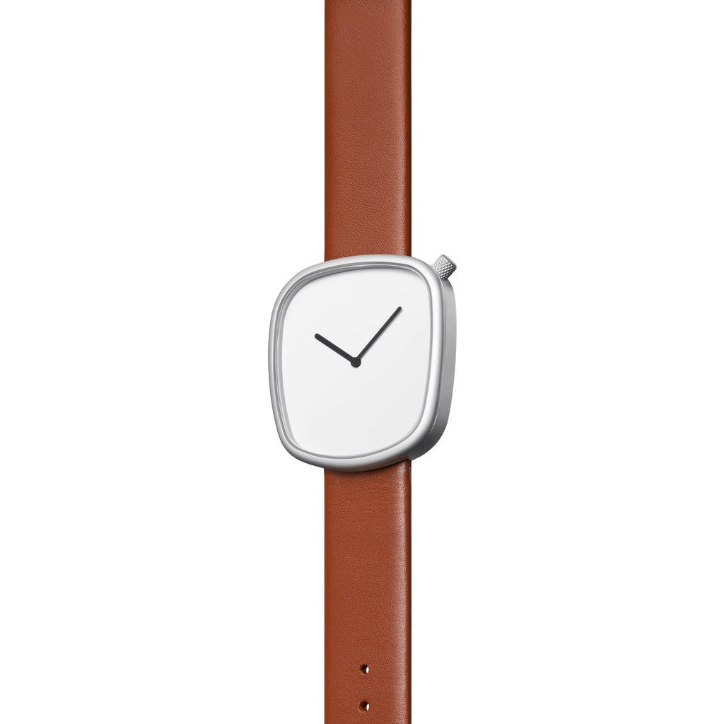 bulbul Pebble 03 Men's Watch | Matte Steel on Brown Italian Leather