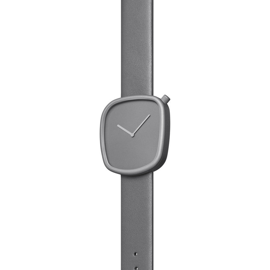 bulbul Pebble 04 Men's Watch | Titanium Coated Steel on Grey Italian Leather