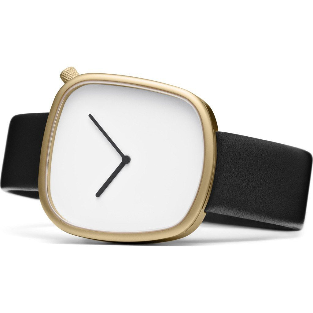 bulbul Pebble 07 Men's Watch | Matte Golden Steel on Black Italian Leather