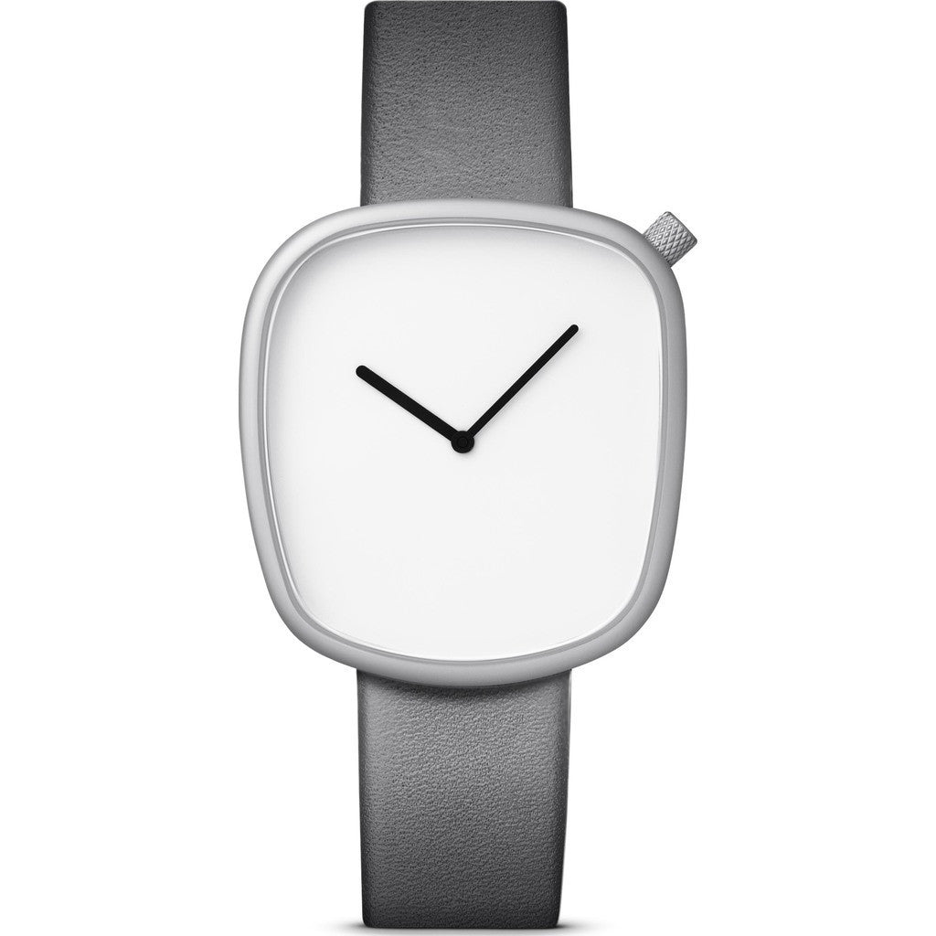 bulbul Pebble 09 Watch | Matte Steel on Grey Italian Leather P09