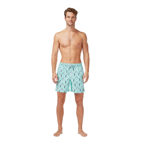 Tom & Teddy Men's Penguin Swim Trunk | Soft Blue