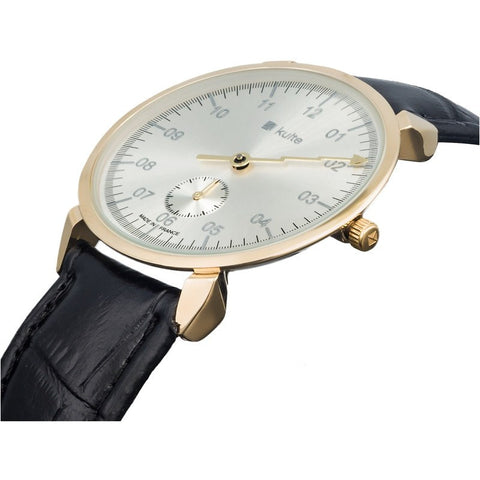 Kulte Plein Soleil Gold Watch | Black Leather KCOLB