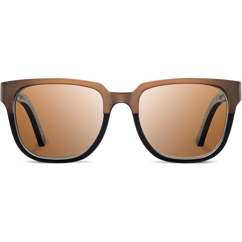 Shwood Prescott Titanium Fifty Fifty Sunglasses | Antique Bronze & Dark Walnut / Brown Polarized