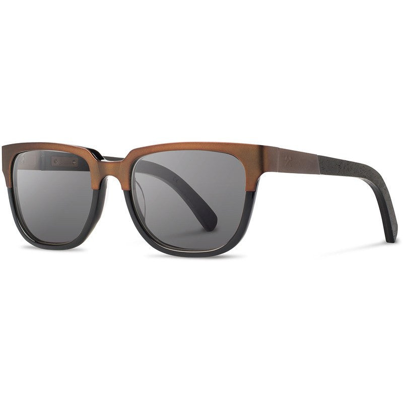 Shwood Prescott Titanium Fifty Fifty Sunglasses | Antique Bronze & Dark Walnut / Grey