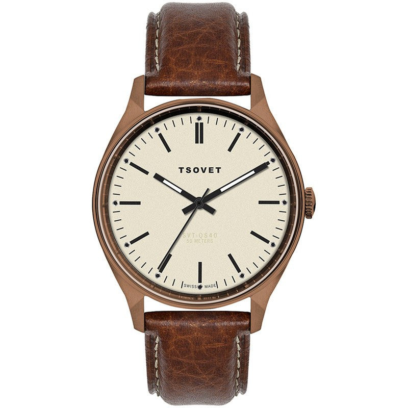 Tsovet SVT-QS40 Swiss Made Copper & Beige Watch | Brown Leather