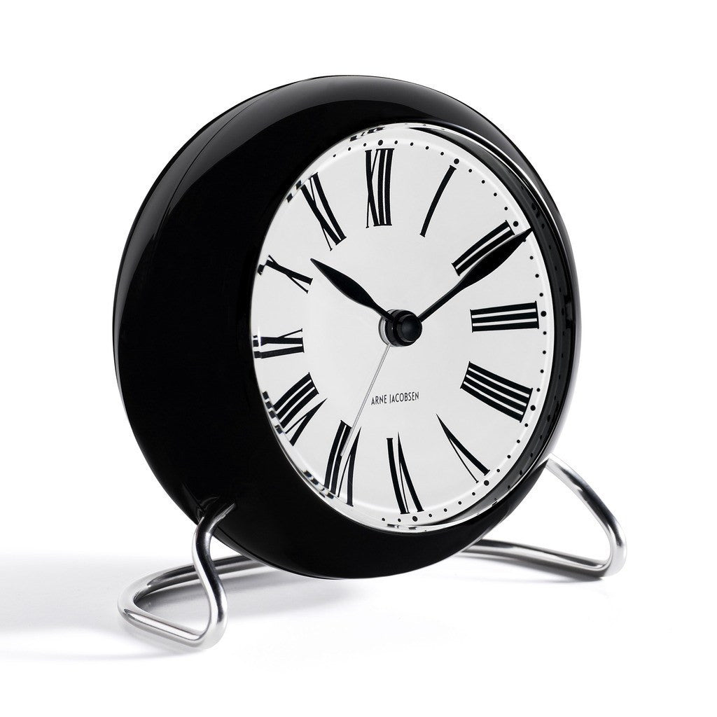 Arne Jacobsen Roman Table Alarm Clock | White/Black 43671