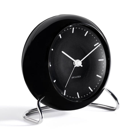 Arne Jacobsen City Hall Table Alarm Clock | Black/Black 43673