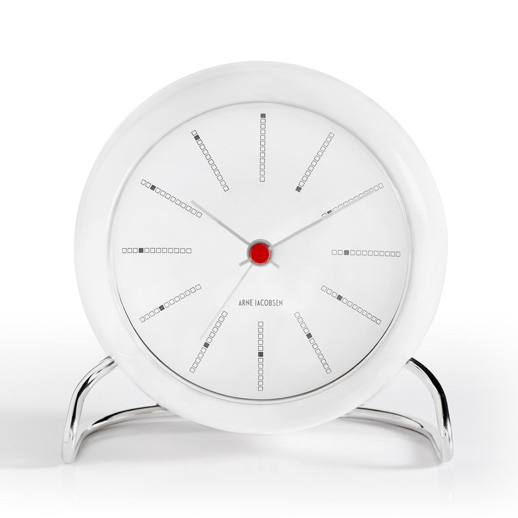 Arne Jacobsen Bankers Table Alarm Clock | White/White 43675