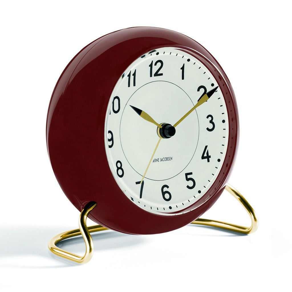 Arne Jacobsen Station Table Alarm Clock | White/Burgundy 43676