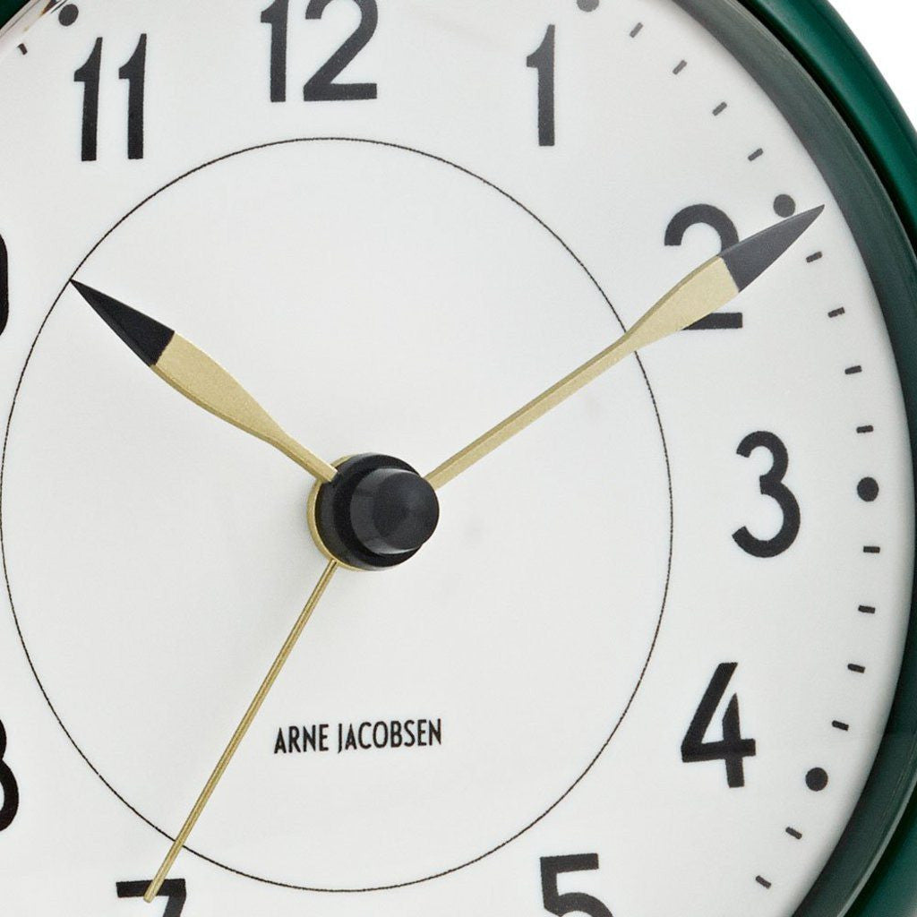 Arne Jacobsen Station Table Alarm Clock | White/Racing Green 43677