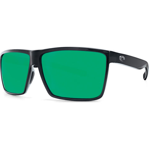 Costa Rincon Shiny Black Sunglasses | Green Mirror 580P