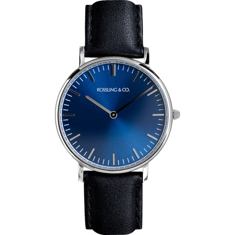 Rossling & Co. Classic 36mm Rogart Watch | Silver/Blue/Black- RO-005-001