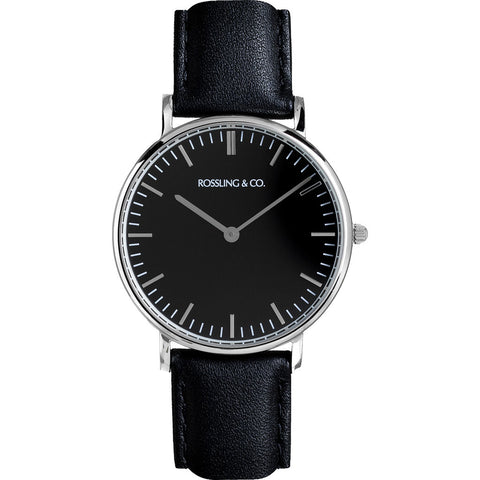 Rossling & Co. Classic 36mm Rogart Watch | Silver/Black/Black- RO-005-002