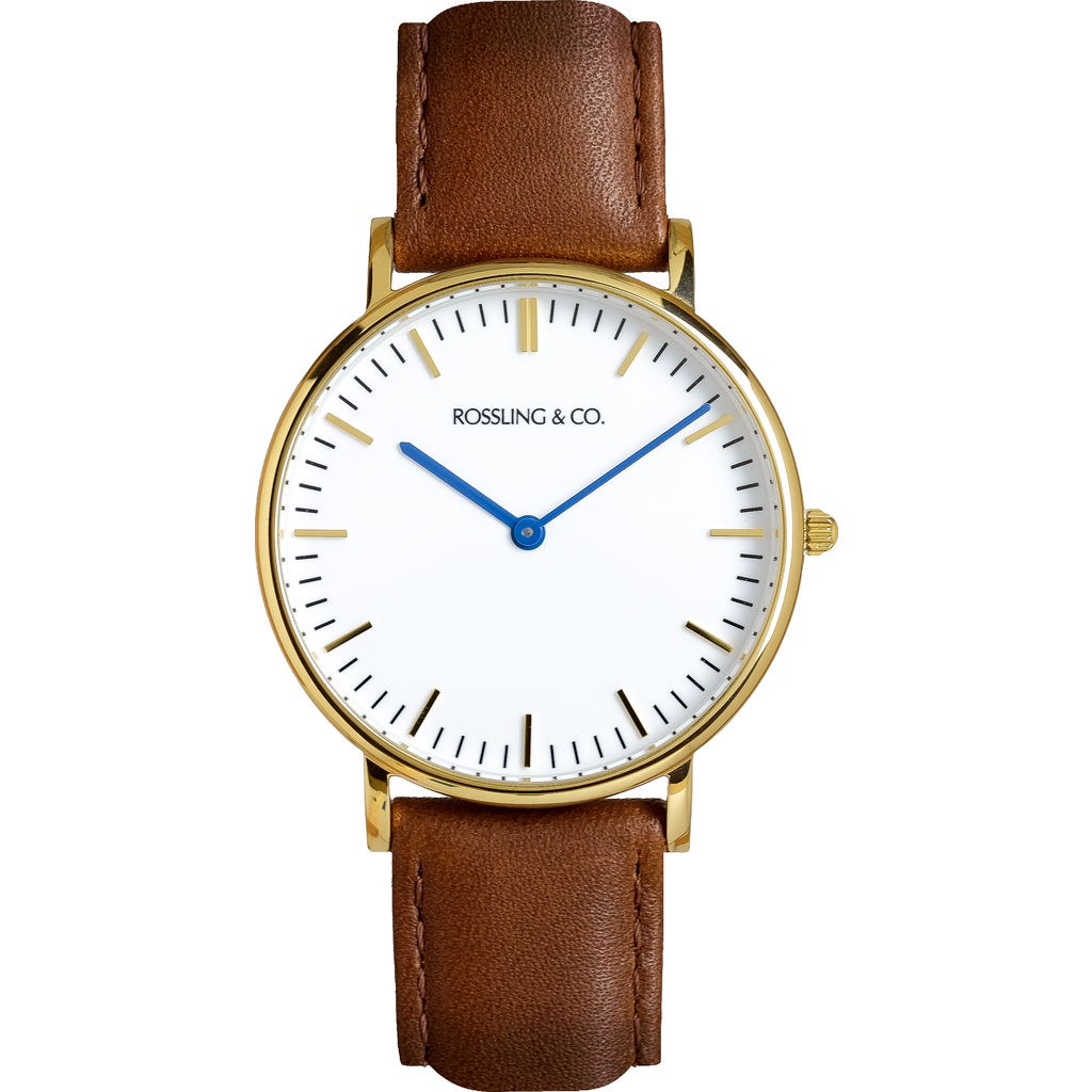 Rossling & Co. Classic 36mm Westhill Watch | Gold/White/Brown- RO-005-003