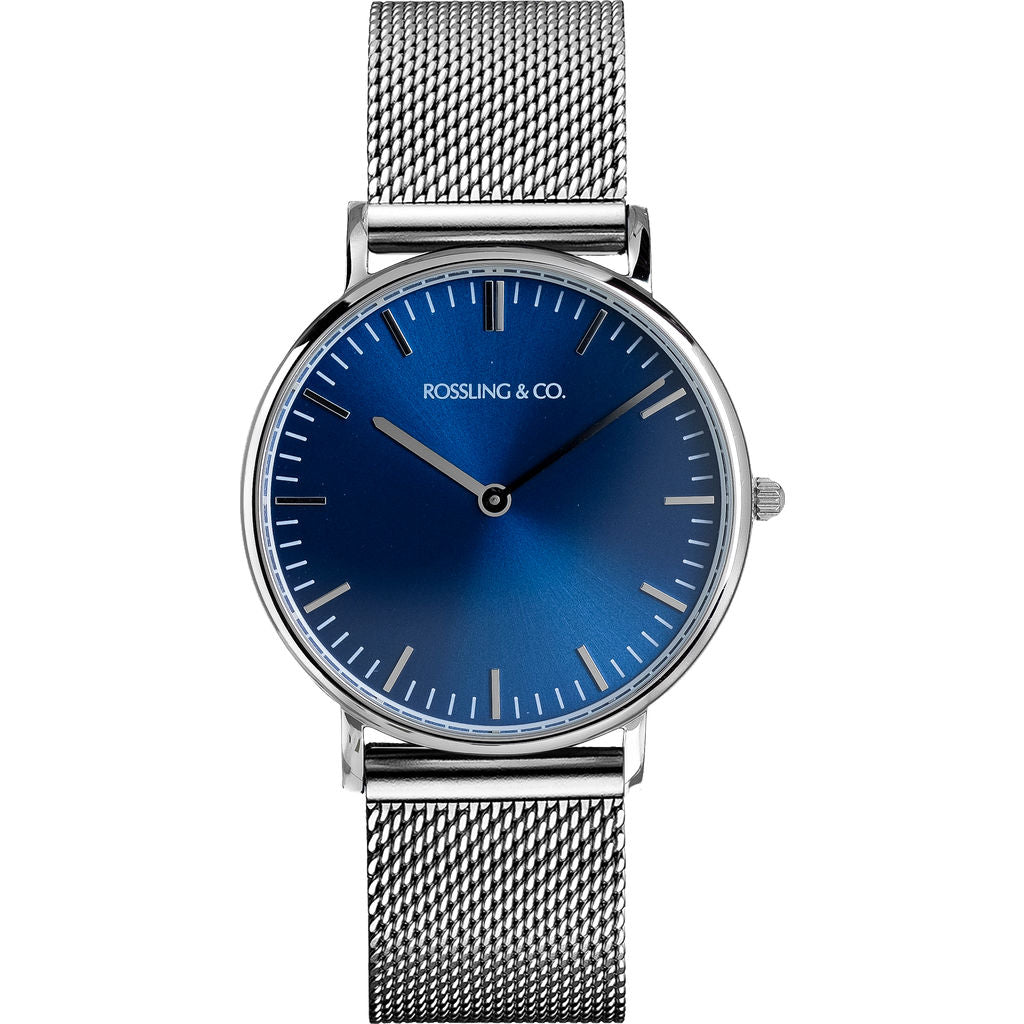 Rossling & Co. Classic 36mm Silver Mesh Watch | Silver/Blue/Silver- RO-005-004