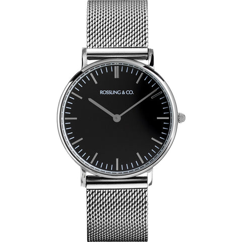 Rossling & Co. Classic 36mm Silver Mesh Watch | Silver/Black/Silver- RO-005-005