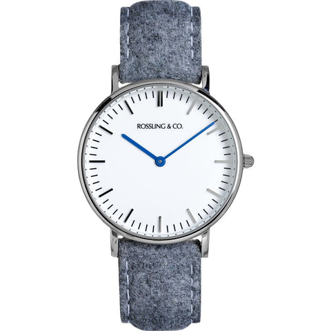Rossling & Co. Classic 36mm Stirling Watch | Silver/White/Light gray- RO-005-006