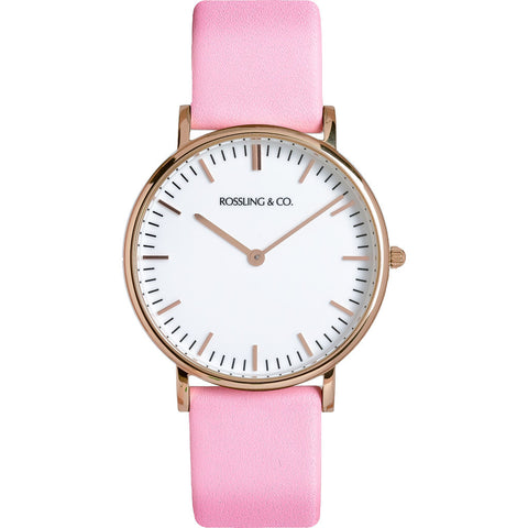 Rossling & Co. Classic 36mm Rose Watch | Rose Gold/White/Pink- RO-005-007
