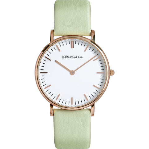 Rossling & Co. Classic 36mm Pistachio Watch | Rose Gold/White/Light green- RO-005-008