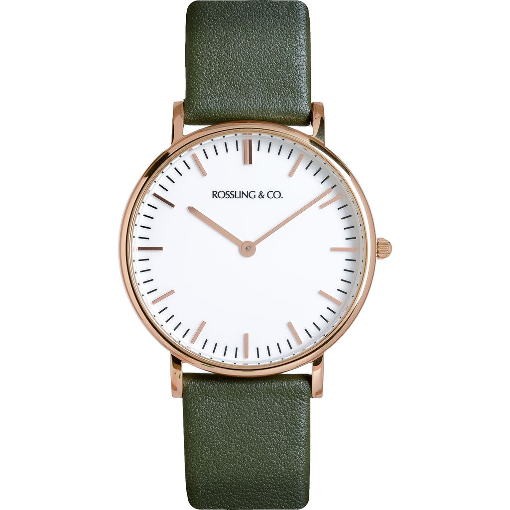 Rossling & Co. Classic 36mm Forest Watch | Rose Gold/White/Dark green- RO-005-009