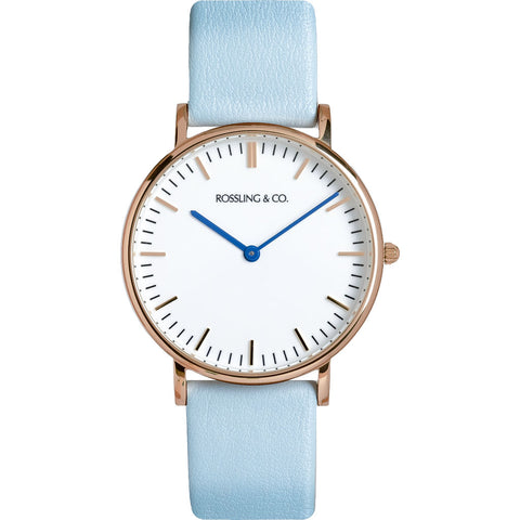 Rossling & Co. Classic 36mm Blue Watch | Rose Gold/White/Light blue- RO-005-010