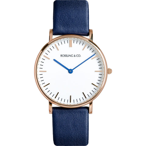 Rossling & Co. Classic 36mm Navy Watch | Rose Gold/White/Navy- RO-005-011