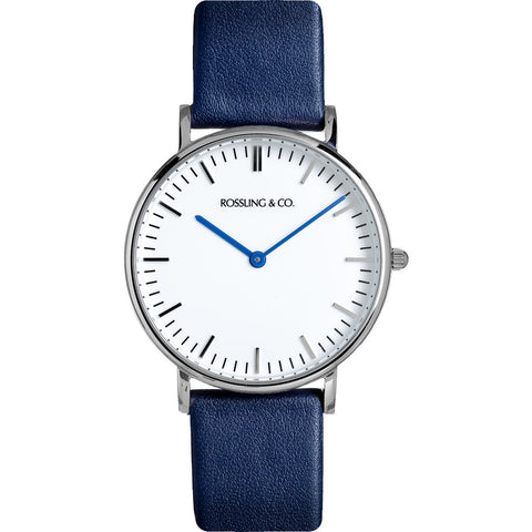 Rossling & Co. Classic 36mm Navy Watch | Silver/White/Navy- RO-005-012