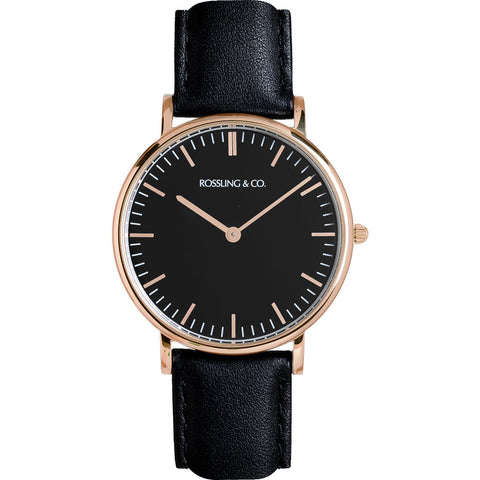 Rossling & Co. Classic 36mm Rogart Watch | Rose Gold/Black/Black- RO-005-014