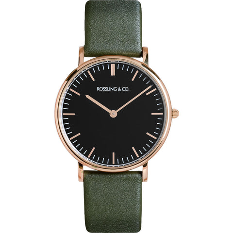 Rossling & Co. Classic 36mm Forest Watch | Rose Gold/Black/Dark green- RO-005-015
