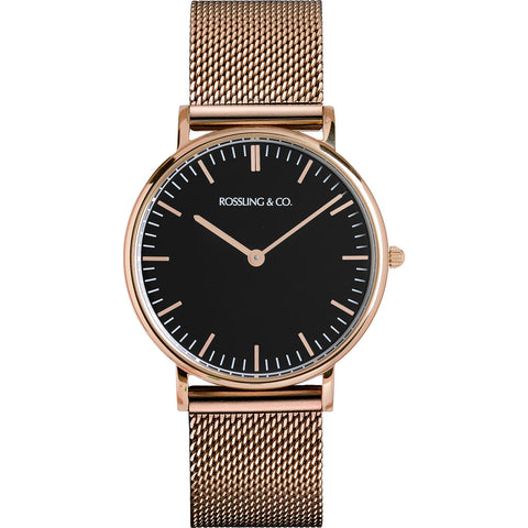 Rossling & Co. Classic 36mm Gold Mesh Watch | Rose Gold/Black/Rose gold- RO-005-016