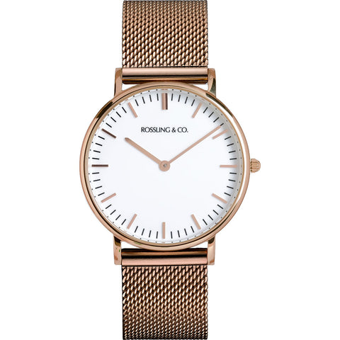 Rossling & Co. Classic 36mm Gold Mesh Watch | Rose Gold/White/Rose gold- RO-005-017