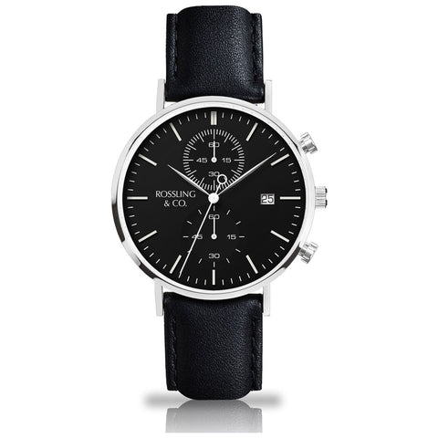 Rossling & Co. Regatta Rogart Leather Watch | Silver/Black