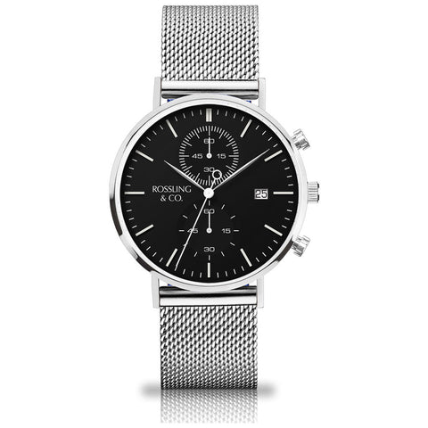 Rossling & Co. Regatta Mesh Stainless Steel Chronograph Watch | Silver/Black