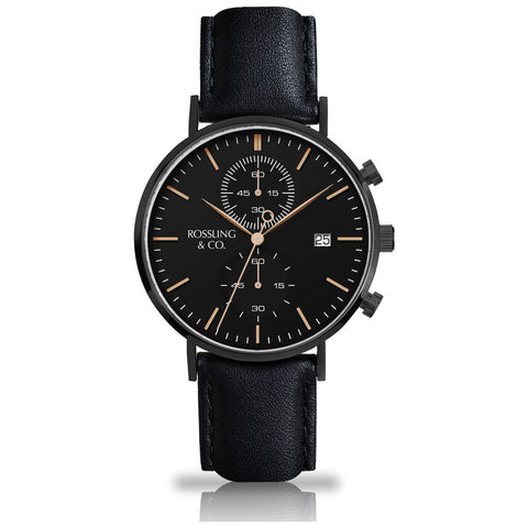 Rossling & Co. Regatta Rogart Leather Chronograph Watch | Black