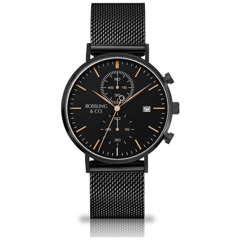 Rossling & Co. Regatta Mesh Stainless Steel Watch | Black