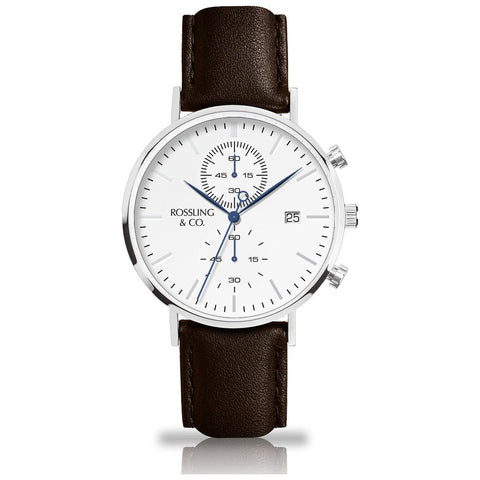 Rossling & Co. Regatta Westhill Leather Watch | Silver/White/Brown